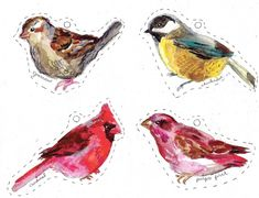 rebecca's misc.: free Winter Birds to use as tags or ornaments ~ set of 12 different ones