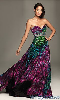 f65ab2689885 Like this for Mardi Gras: Strapless Peacock Print Dress by Night Moves  Wedding Dress With