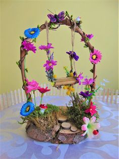 Fairy Garden Flower Arch With SwingFairy by TheTinyShinyCottage