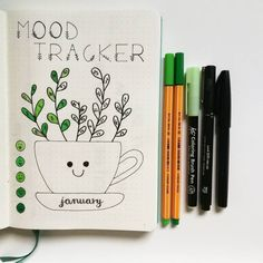 Bullet journal mood tracker, plant drawing, cute bullet journal layout. | Debby Thomas- Pemberton.bujo