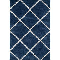 Safavieh Hudson Diamond Shag Navy (Blue)/ Ivory Rug x Size x (Polypropylene, Geometric) Flokati Rugs, Shag Rugs, Navy Rug, Moroccan Design, Blue Ivory, Dark Blue, Light Blue, Power Loom, Online Home Decor Stores