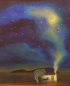 Title: Artists: Size: Medium: Karoo Dreams Wendy Malan Unframed size Acrylic on canvasboard Old Master, Beautiful Space, View Image, Van Gogh, Artworks, Northern Lights, Houses, Inspire, Paintings