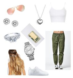 """""""Nia"""" by mreadirs-1 ❤ liked on Polyvore featuring Topshop, Bullhead Denim Co., NIKE, Johnny Loves Rosie, Pandora, Michael Kors, Calvin Klein, Ray-Ban, In God We Trust and women's clothing"""
