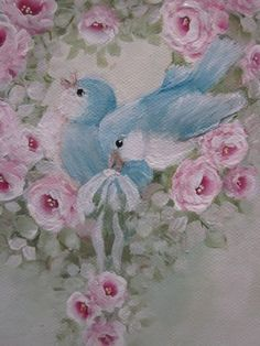 Pretty little painting of rose heart wreath and bluebirds.