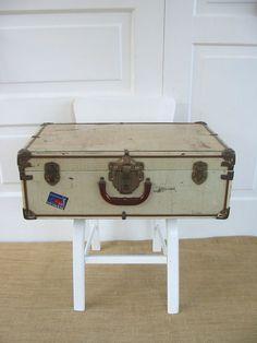 Vintage Metal Suitcase Luggage Industrial White by vintagejane, $39.00