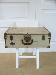Vintage Metal Suitcase Luggage Industrial White by vintagejane, $39.00