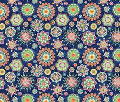 Folky Flora-blue fabric by groovity on Spoonflower - custom fabric
