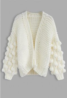 Knit Your Love – Strickjacke in Fliederfarben - Retro, Indie and Unique Fashion White Knit Sweater, Chunky Cardigan, White Cardigan, Vintage Tops, Unique Fashion, Coats For Women, Clothes For Women, Short, Outfit
