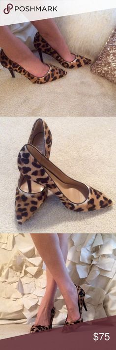 NWOT Banana Republic Cheetah Print Calf-hair  Pump Sexy but sophisticated Banana Republic cheetah print pointed-toe pump. The cheetah print is on a textured calf hair. Heel height 3.5 inch. Bought but never worn; they have been sitting on my bookshelf as decoration with other pretty shoes. No box, but in perfect, straight out of the store condition Banana Republic Shoes Heels