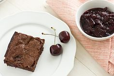 Cherry Lambic Brownies with Cherry Sauce