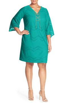London Times Lace-Up Neck Chevron Mesh Shift Dress (Plus Size)