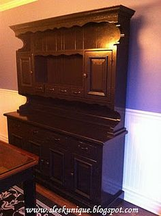 After Pic of Painted Hutch Vintage Hutch, Painted Hutch, Piano, Entertaining, Beads, Creative, Crafts, Painting, Furniture