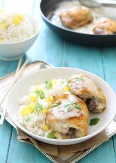 Coconut lime baked chicken with coconut mango sticky rice is a great light, summer meal.