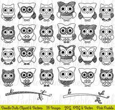 Doodle Owls Clipart & Vectors by PinkPueblo on @creativemarket
