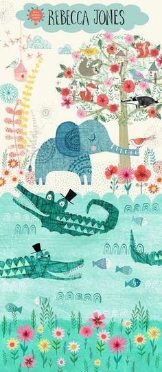 crocodilos maravilhados com o elefante.