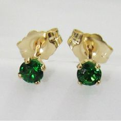 Setting:  Metal type: 14K Yellow Gold Setting type: 4-prongs setting Weight: 0.61 Grams  Main stones: Stone Type: Natural Tsavorite Diameter: 3 mm. Weight: 0.28 (ct. tw.) Color: Deep Olive Grass Green Cut: Excellent  Includes: * Certificate of Authenticity * Exclusive Earring box * Elegant package * Shipping with Registered Mail (insured)