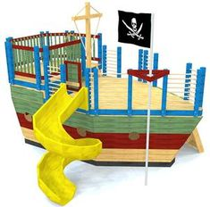 The ultimate outdoor pirate ship play-set plan. x two floors with a rock wall, gang plank, fire pole and room for a slide. Fun to build & a blast to play on!