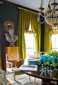 Dark gray walls & chartreuse drapes