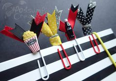 4 Large Double Ribbon Paperclips MOVIE by PossumPipCreations super cute GLITTER MOVIE theater POPCORN cola kawaii, page markers, paperclips, filofax, colour crush planners.#handmade #RibbonPaperclips #colourcrush #planner #scrapbooking. #Movie #Cinema #Theater #Retro #Cola #Popcorn #Paper #Clips