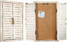 "IWNTCB 13"" x 21"" x 1"" Nautical Wood Shutter Corkboard Cabinet                                                        nautical/coastal"