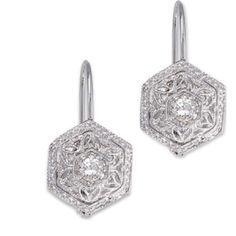 Diamond Filigree Lever Back Earrings emmaparkerdiamonds.com