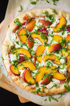 Three Cheese Peach and Prosciutto Pizza with Basil and Honey Balsamic ...