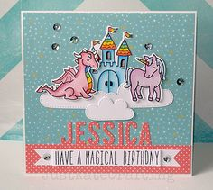Lawn Fawn - Critters Ever After + coordinating dies, Milo's ABCs, Spring Showers Lawn Cuts dies, Hello Sunshine 6x6 paper, Let's Polka 6x6 paper _ Beautiful birthday card by Kate via Flickr - Photo Sharing!