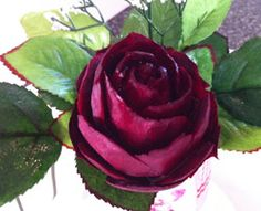 This beautiful deep red rose is a vegetable carving made of beet by student Ali Tahir. To see other carvings by first timers, visit http://www.vegetablefruitcarving.com/blog/students-carve-beet-rose/