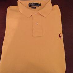 Polo by Ralph Lauren shirt. Yellow polo by Ralph Lauren shirt, long sleeve with burgundy logo. Polo by Ralph Lauren Shirts Polos