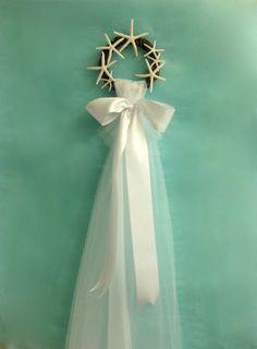 Beach Wedding - Bridal Veil Display with Natural Starfish - Choose Ivory, White, Blue, Aqua, Navy, or Coral Ribbon - Beach Bridal Shower