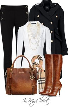 """""""Fall - #95"""" by in-my-closet on Polyvore (Burberry with a Michael Kors bag?!?! SWOON!!),DESIGNER MICHAEL KORS BAGS WHOLESALE,michael kors handbags cheap"""