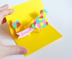 Объемная открытка с воздушными шарами - детская поделка