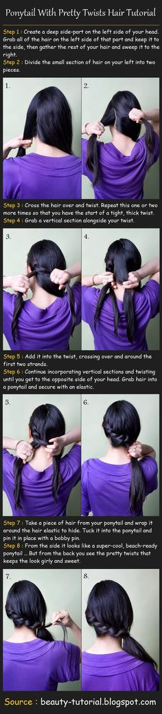 Ponytail With Twists Hair Tutorial - Click image to find more Hair & Beauty Pinterest pins