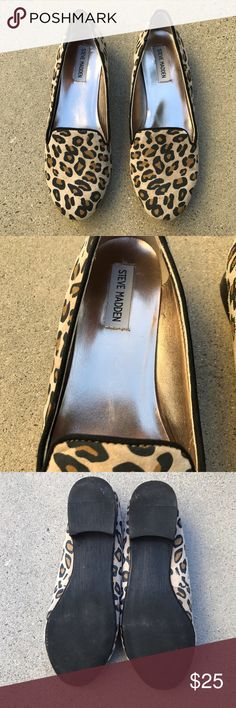 Steve Madden slip on Leopard pattern slip on, worn only once Steve Madden Shoes Flats & Loafers