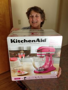 """Look at this beautiful KitchenAid mixer I won on DealDash for only $25.52 plus a few measley bids!! I donated this raspberry ice beauty to a dear friend's fight against  breast cancer. You, too, can be a winner. See how much you can save at www.dealdash.com/join.php?utm_source=customer%20testimonials&utm_medium=pictures&utm_campaign=facebook!"""""""