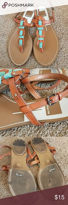 Dolce Vita Girls Leather Sandals Size 4 🎉HP 🎉HP🎉 Adorable! Brown Leather With Turquoise Accent. Dolce Vita Girls Leather Sandals Size 4 Excellent Condition except small sign of wear on leather shown in last pic Dolce Vita Shoes Sandals & Flip Flops