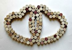 More from corks! The corks have been arranged to form hearts that collectively intertwine with each other. Pretty artistic and interesting to look at.