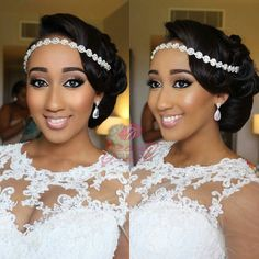 Eight Tips For Flawless Wedding Makeup – Best Wedding Planning Tips Bridal Hair And Makeup, Bride Makeup, Hair Makeup, Black Brides Hairstyles, Bride Hairstyles, Natural Wedding Hairstyles, Hairdo Wedding, Headpiece Wedding, Braut Make-up
