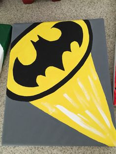 Batman canvas - Batman Decoration - Ideas of Batman Decorati Batman Room, Batman Art, Batman Painting, Diy Painting, Batman Drawing, Kids Canvas Art, Diy Canvas, Acrylic Canvas, Superhero Canvas