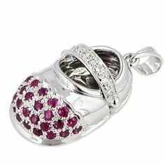 14K White Gold Ruby and Diamond Baby Shoe Pendant Netaya. $199.95