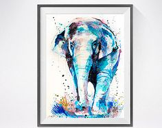 Blue Elephant Watercolor Animal Painting Animal Art by Thenobleowl
