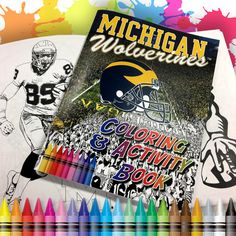Michigan Wolverines Coloring & Activity Book designed by Team Spirit Store artist Cary Maucere. Jammed packed 36-pages of coloring fun includes word search and helmet maze. Officially licensed through University of Michigan.