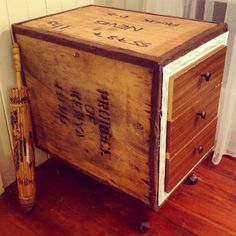 Tea chest drawers upcycled