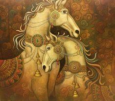 Kerala Mural Painting, Madhubani Painting, Indian Art Paintings, Animal Paintings, Horse Artwork, Madhubani Art, Indian Folk Art, Human Art, Traditional Paintings