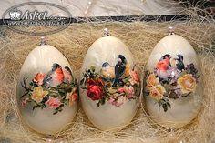 klasyczny decoupage na jajkach gęsich - z pracowni Asket