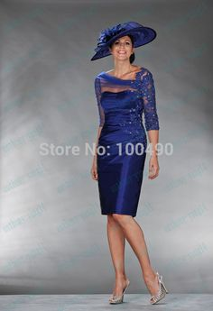 Vestido De Madrina Royal Blue Hot Pink Taffeta Sheer Lace Half Sleeves Short Cocktail Dress For Mother Of The Bride