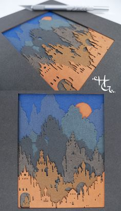 Harvest Moon Over the Avalon Hills Harvest Moon Over the Avalon Hills, 9 layers of hand cut paper, inches, by Hazel Glass: My original papercut art is created with archival artist pap 3d Paper Art, Paper Artwork, Diy Paper, Paper Crafts, Paper Cutting Art, Harvest Moon, Up Book, Book Art, Paper Quilling