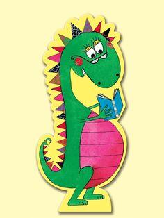 Rachel Ellen bookmark - dinosaur reading