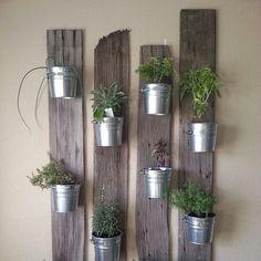 """Great idea for a hanging herb garden. #herbs #vegiegarden #potplant #greenwall"""