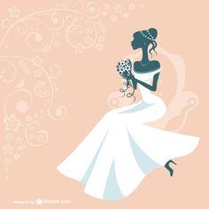 Silueta de mujer con vestido de novia Vector Gratis